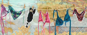 Closeup of Taryn Alessandro's Painting: Laundry Day